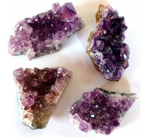 Kit Com 4 Ametistas Drusas 4,5cm Extra Pedra Mineral Natural