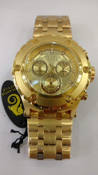 Relógio Original Atlantis Grande Estilo Subaqua Dourado Cx