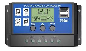Controlador De Carga Solar 12v 24v Pwm 30a Dual Usb
