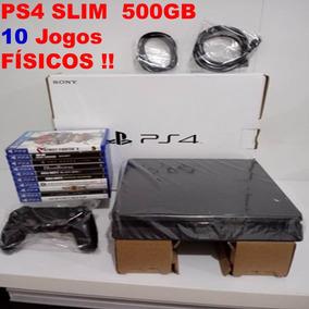 Playstation 4 Ps4 500 Gb Slim 10 Jogos Físicos Controle Cabo