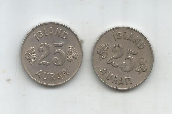 M 10508 Islandia Lote De 2 Monedas 25 Aurar