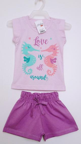 Conjunto Blusa E Shorts Infantil Fem Fashion Kids Tam 1 Ao 3