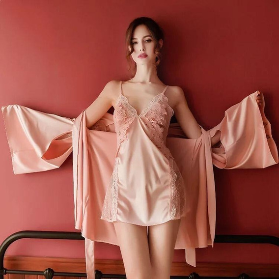 Pijama Sexy Bata Vestido Rosa Tipo Seda Lencería Camisón