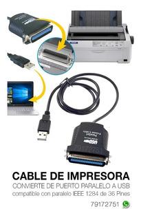 Cable Para Impresora Puerto Paralelo A Usb
