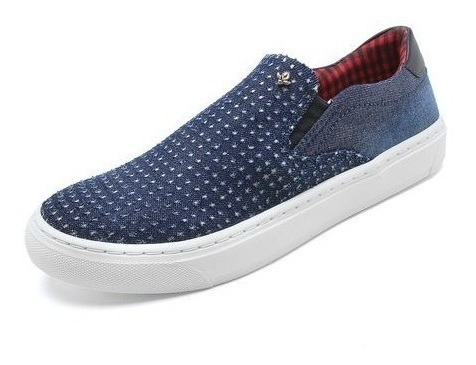 Tênis Casual Slip On Cravo E Canela Azul 136433