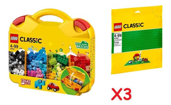 Kit 3 Maletas Blocos De Montar Lego Classic + 3 Bases