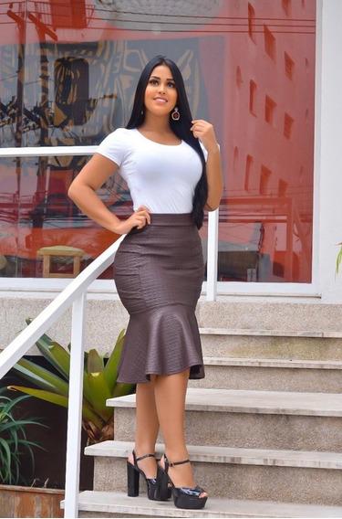 Saia Midi Secretária Crepe Acetinado Moda Roupas Evangélica