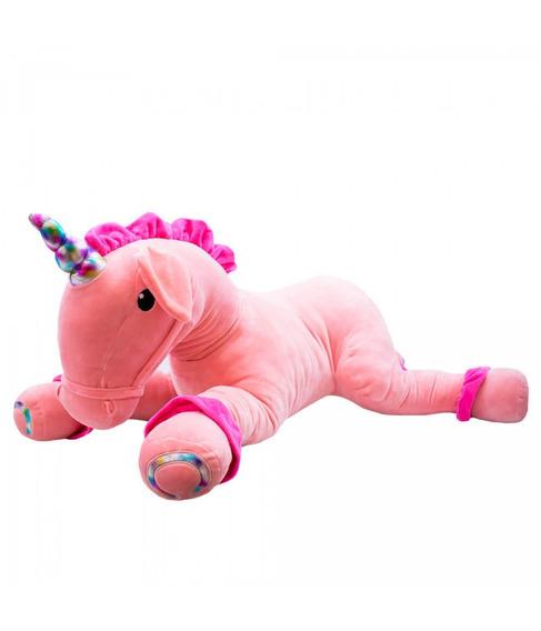 Pelúcia Unicórnio Pink Deitado Chifre Colorido 60cm Fofytoys