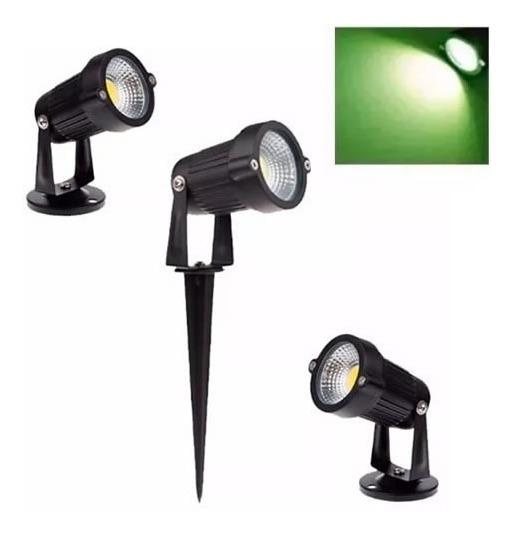 Kit 5 Espeto Luminaria Para Jardim Cob Led 7w Verde