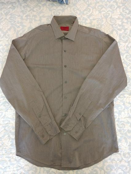 Camisa Alfani Gris Oxford Rayas Formal Hombre Talla M