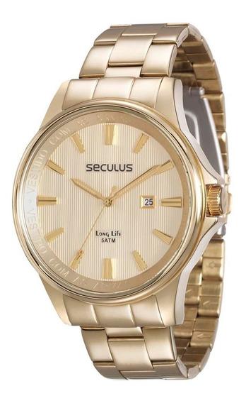 Relógio Masculino Seculos + Cordão De São Jorge 28802gpskda1