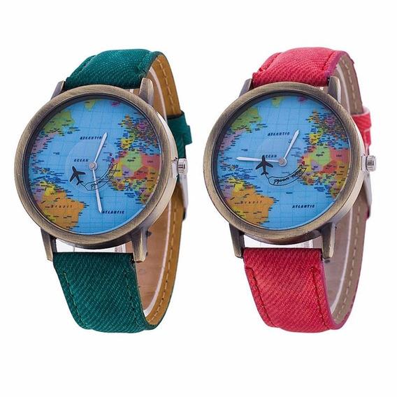 Relógio Pulso Criativo Mapa Do Mundo Verde E Vermelho 2 Peç