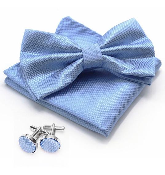 Moño Corbata Doble + Pañuelo + Mancuernillas Para Hombre