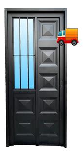 Puerta Chapa Simple 80x200 - Con Postigo Lateral C/vidrio