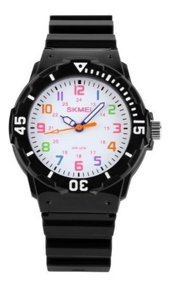 Relógio Infantil Skmei 1043 Analógico Preto Com Nf