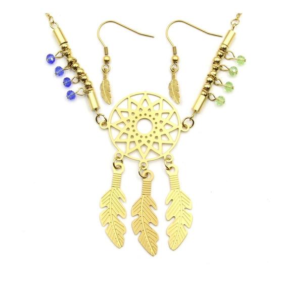 Set Joyeria Acero Dorado Collar Aretes Atrapasueños Color Eg