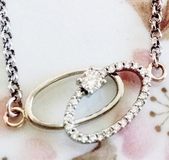 Pulsera Anillos De Matrimonio Con Diamantes Oro Blanco 14k