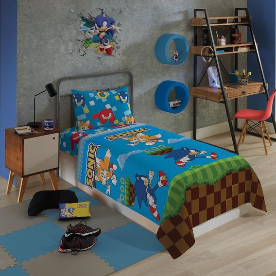 Sonic Jogo De Cama Microfibra 3 Peças Lepper Solteiro