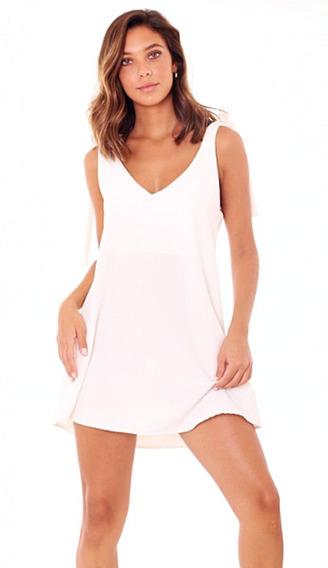 Vestido Blanco Mini, Raso Satinado, Breteles Con Nudo
