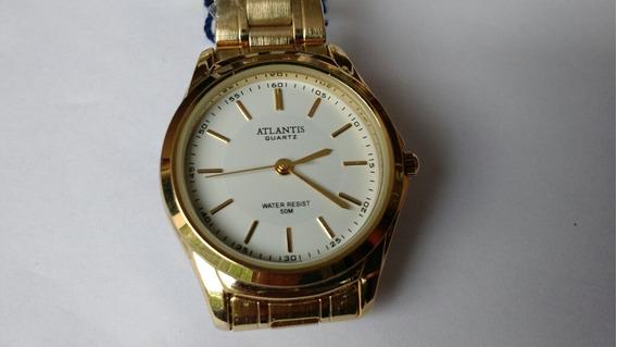 Relógio Feminino Dourado Mostrador Branco
