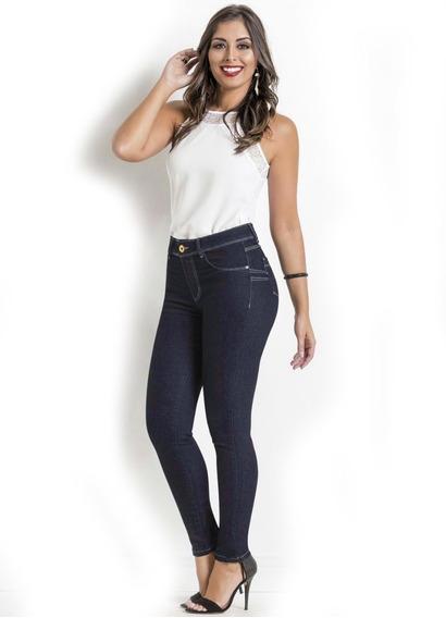 Calça Jeans Feminina Básica Marca Sawary Azul Levanta Bumbum