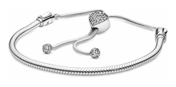 Bracelete Pandora Ajustável Coração 17cm