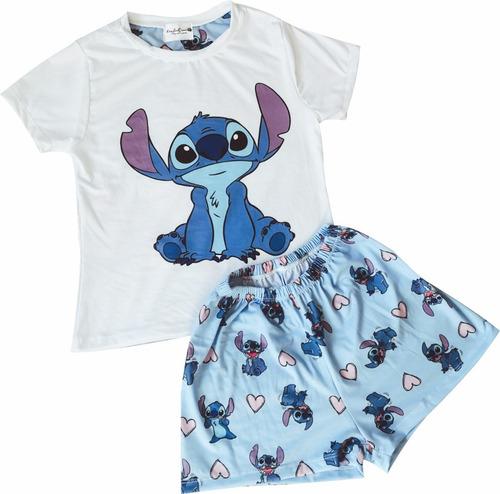 Pijamas Mujer Stitch Short Azul
