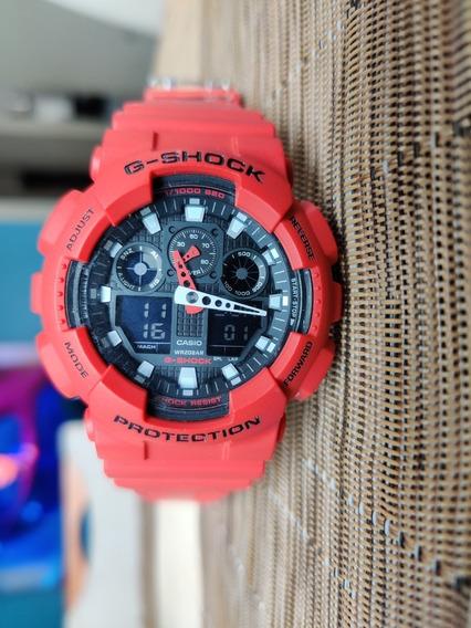 Relógio G-shock Ga-100b-4adr Vermelho + 2 Pulseiras