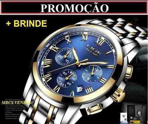 Relógio Masculino Lige Original Brinde 1 Ano De Garantia