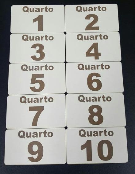 Kit Placa Mdf Bco C/ Número Gravado Porta Quarto Hotel 10 Pç