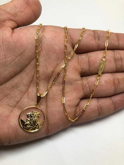 Cordão Banhado A Ouro+ Pingente São Jorge