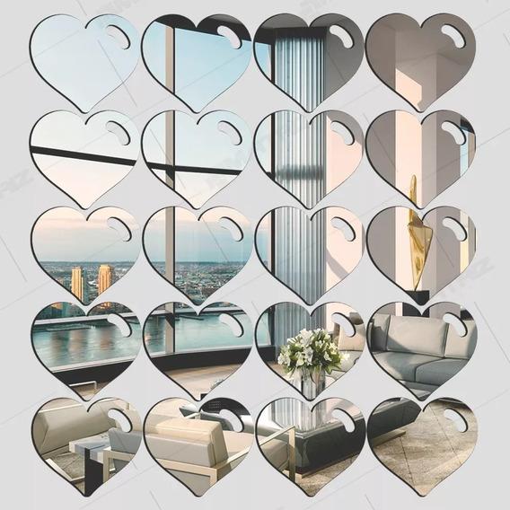 Espelho Decorativo Acrílico Corações Detalhe 20 Peças 8cm
