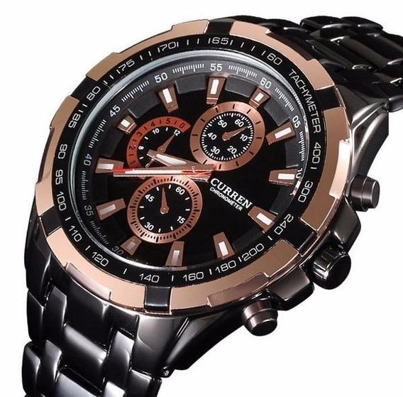 Relógio Masculino Aço Preto Dourado Curren 8023