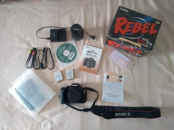 Canon T3i + 18-55 + 2 Baterias + Sd 16gb + Bolsa + Manuais