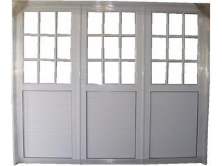 Porton Aluminio Blanco Medio Vidrio Repartido 2.40 X 2