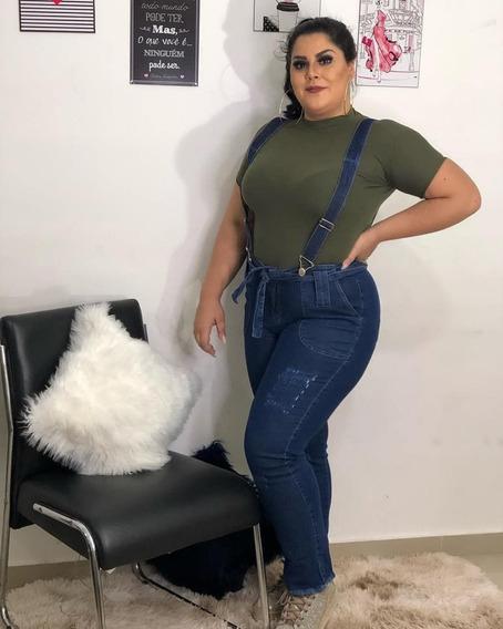 Calça Jeans Feminina Cintura Alta Plus Size Com Suspensório E Lycra