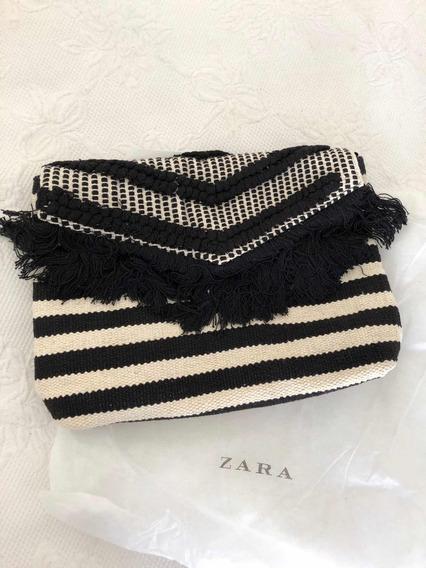 Cartera Zara Blanca Y Negra Nueva Flecos