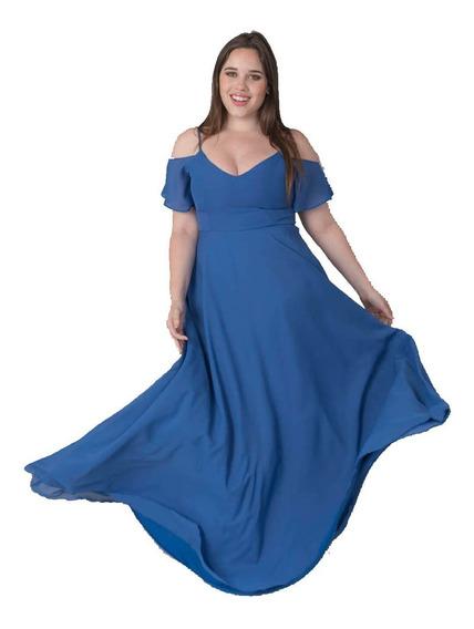 Vestido Fiesta Largo Azul Mangas Xxl Talles Grandes
