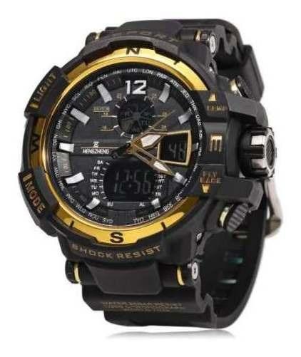 Relógio Masculino Prova D Água Preto Com Dourado Borracha