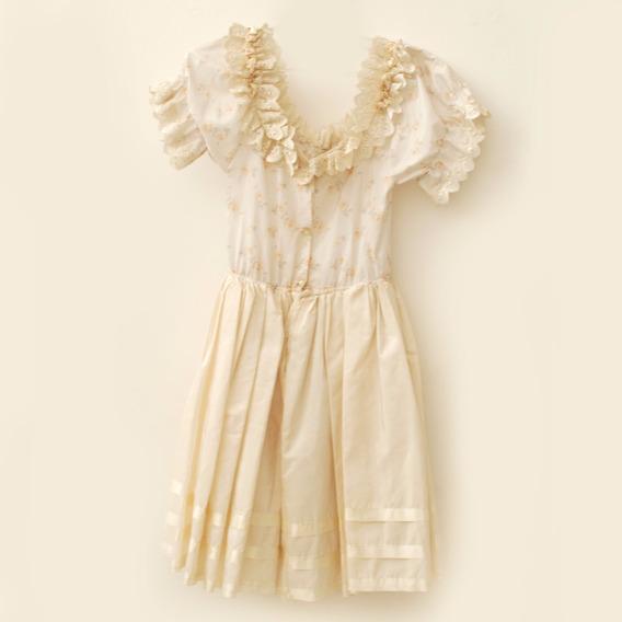 Roupa Para Estúdio:vestido Infantil Amarelo/branco Com Flor