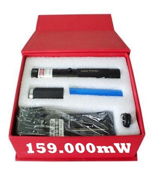 Super Caneta Laser Pointer 159.000mw 50 Km Verde Kit Complo