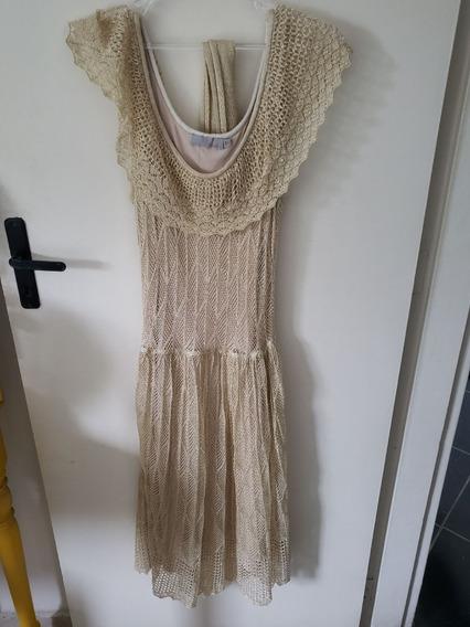 Vestido Tricot Dourado Sacada