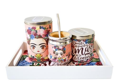 Imagen 1 de 3 de Kit Bandeja Desayuno Mate Yerbera Y Azucarera Frida Kahlo