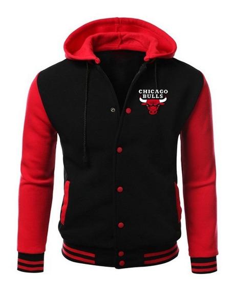 Chicago Bulls Bordado Jaqueta College Capuz Removível !!