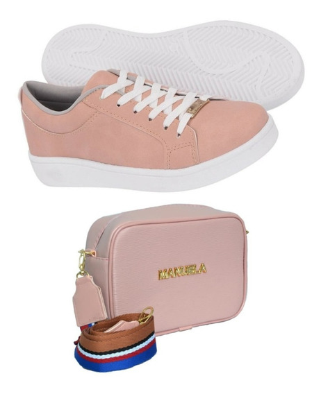 Kit Sapatilha Sapatenis Tenis Feminino Casual + Mini Bag