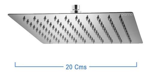 Imagen 1 de 3 de Ducha Regadera Baño Metálica Ultra Plana 20 Cms, Kit Tubo