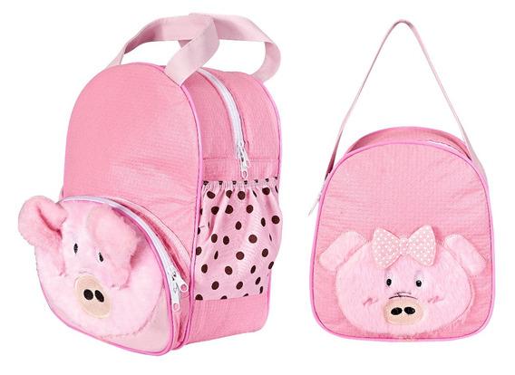 Kit Mochila Lancheira Infantil Menina Porquinha Bebê Escolar