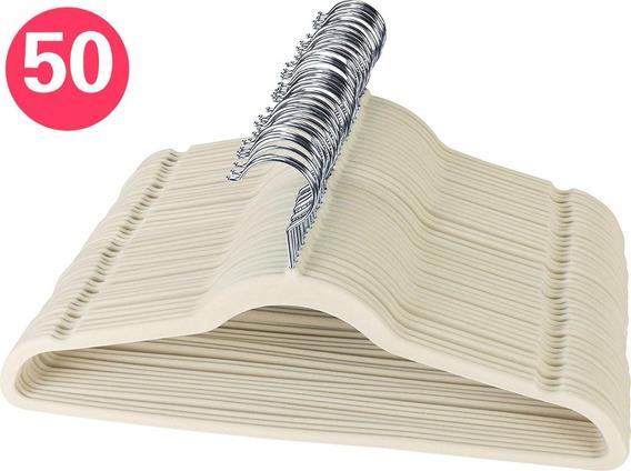 Kit 50 Cabides De Veludo Slim Antideslizante Bege