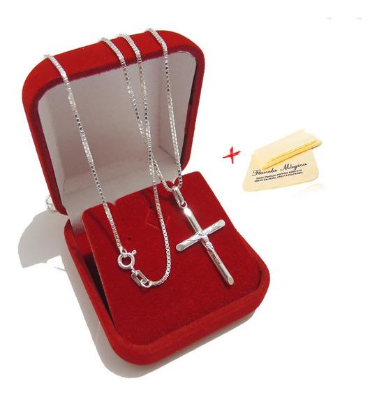 Corrente Cordão Masculino Veneziana Colar 70cm De Prata 925 Italiana Legitima Com Pingente Cruz Palito Crucifixo Liso