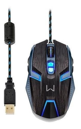 Mouse Multilaser Warrior Ambidestro 4000dpi Preto/azul, Mo25